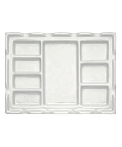 Porcelain palette 18x24 cm, with 8 compartments and brush rest edge