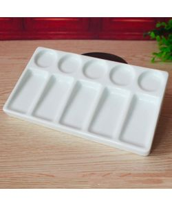 Rectangular porcelain palette, 11x19 cm with 10 grooves (rectangular and round)