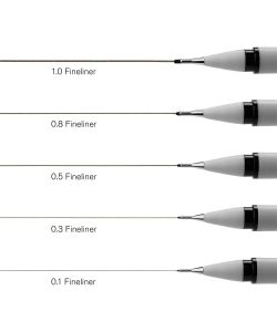 Set of 5 black Winsor & Newton fineliners from 0.1 to 1 mm
