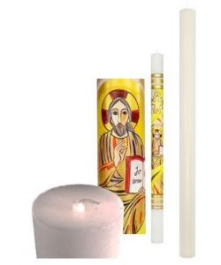 Paschal candle, pure white wax diam. 8 cm. height 120 cm.