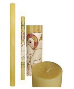 Paschal candle, beeswax diam. 8 cm. height 120 cm.