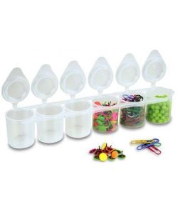 Plastic containers to 6 tubs of 25 ml.