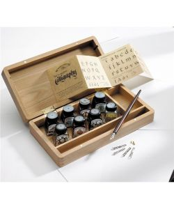 calligraphy kit with wooden box, Winsor & Newton