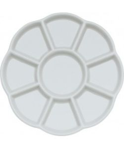 Porcelain palette with flower shape diameter 14 cm. with 9 flat compartments