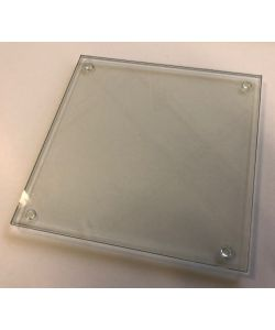 Glass plate 21,5x21,5 cm  with anti-slip plates thick. 4 mm