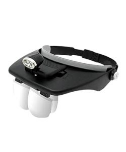 Visor with 4 magnifying glasses and torch